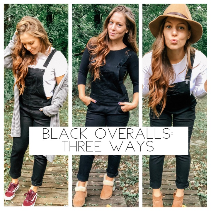 Black overalls: three ways.